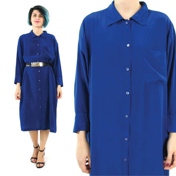 Vintage Blue Silk Shirt Dress Navy Blue Silk Dress 70s 80s Minimalist Silk Dress Long Sleeve Shirt Dress Collared Button Down Dress (M/L)