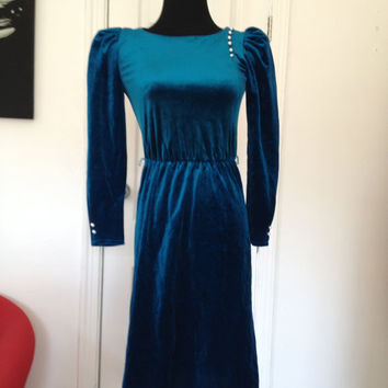 Vintage 1970s-1980s Dark Turquoise Long Sleeved Form Fitting Dress