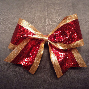 Glitter Sparkle Red & Gold 3 inch wide Competition Cheer Bow