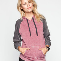 Full Tilt Essential Womens Color Block Hoodie Burgundy  In Sizes