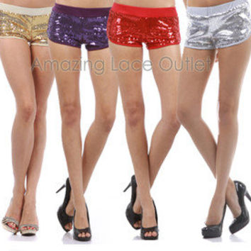 Sexy Sequin Boy Booty Shorts Shiny Sparkle Metallic Gold Silver Black Red S-M-L
