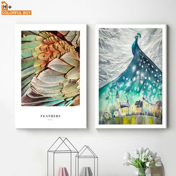 Watercolor Peacock Feather Castle Wall Art Canvas Painting Nordic Posters And Prints Animals Wall Pictures For Living Room Decor