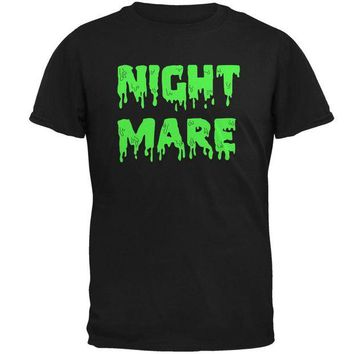 DCCKU3R Halloween Nightmare Horror Slime Dripping Text Mens T Shirt