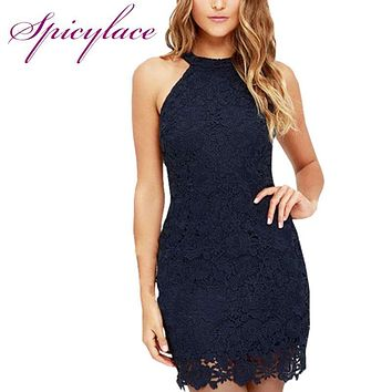 Spicylace Women Vintage Halter Elegant Lace Dress for Wedding Night Club O Neck Sleeveless Sheath Bodycon Midi Dresses