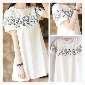 Lovely Embroidery Floral White Short Sleeve Cotton Linen Plus Size One Piece Dress [4919721604]