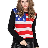 TopStyliShop Women's Stars and Stripes Pattern Round Neck Sweater S1030