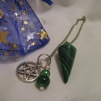 Malachite pentagram witch pendulum moon or Celtic knot available