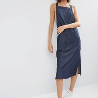 ASOS Denim Overall Style Slip Dress in Indigo at asos.com