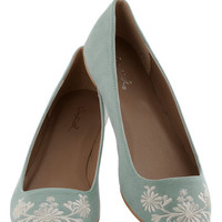 ModCloth Pastel Petal Down the Lane Flat in Sage