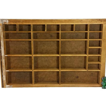 Divided Shadowbox Tabletop Shelf Wood Display Case Vintage Cubby Compartment Tray Collection Knickknack Organization Rustic Shabby Farmhouse