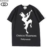 GUCCI 2019 early spring new tide brand clown letter printing round neck pullover loose short-sleeved T-shirt black