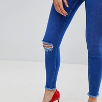New Look - Jean disco déchiré - Bleu vif at asos.com