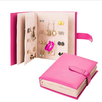 Portable Book Type Earrings And Studs Organizer Holder Creative Earring Book Jewelry  Box Showing Stand (4 Colors Available)