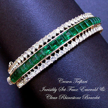 Crown Trifari Alfred Philippe Invisibly Set Faux Emerald and Diamond Bracelet Vintage 1950s