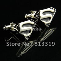 Black 23mm New Fancy CUFFLINKS Cuff Links for shirt Superman Cufflinks