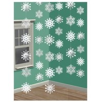 "Amscan Winter Wonderland Christmas 3-D Snowflake Hanging Party Decoration (Pack Of 1), White, 14 1/4"" x 13"""
