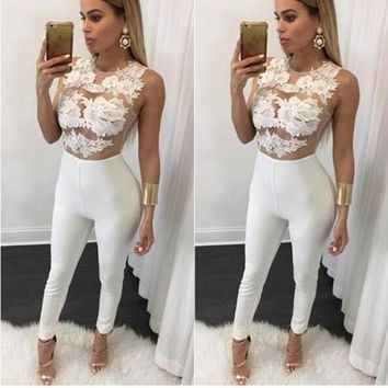 White Flowers Embroidery Grenadine Zipper Elastic Waist Long Jumpsuit