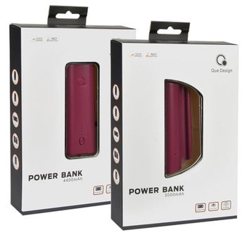 Que Design E227972 4400mAh 2.4A 12W & 3000mAh 1A 5W Power Bank (Cranberry Red) - Retail Hanging Package
