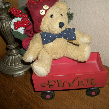 Red Wooden Flyer Wagon Open Cart Rustic Vintage Christmas Decoration
