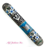 White Flower Mezuzah