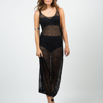 Shiny Netted Overlay Dress