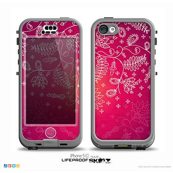 The Glowing Pink & White Lace Skin for the iPhone 5c nüüd LifeProof Case