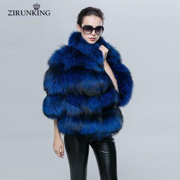 Natural Silver Fox Women's Real Fur Coat Fashion Stand Collar Female Full Pelt Thick Warm Jacket