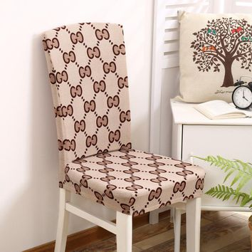 Minimalist Removable Spandex Geometric Pattern Stretch Dining Chair Seat case Kitchen Shabby Chair Protector Cover  for Banquet