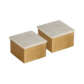 Castelby Set of 2 Brass Boxes