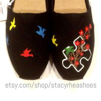 Autism Awareness Custom Toms with Puzzle Piece, Birds and Cherry Blossom Tree
