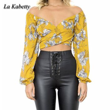 La Kabetty Sexy Shirt Off Shoulder Long Sleeve Bandage Crop Top Chiffon T Shirt Flower Women Vogue Club Tee Shirts