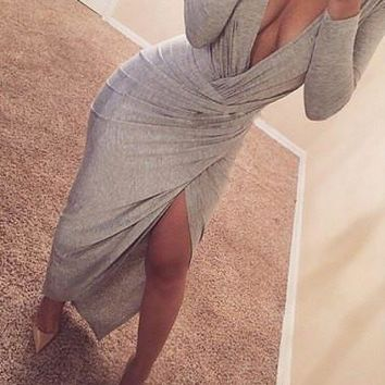 Gray V-Neck Long Sleeve High Slit Dress