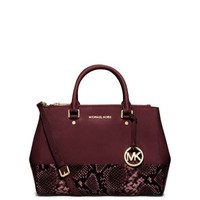 Sutton Medium Embossed-Leather Satchel | Michael Kors