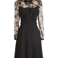ModCloth Vintage Inspired, French Long Long Sleeve A-line Cheery Cordial Dress in Long Sleeves - Black