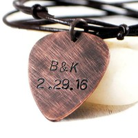 Custom Personalized Copper Guitar Pick Necklace On Adjustable Leather.