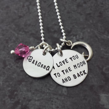 I Love You to the Moon and Back Necklace with Name Charm