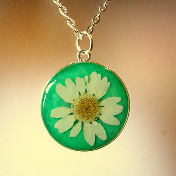 Real Pressed English White Daisy and Tree of Life Reversible Silver Plated Necklace
