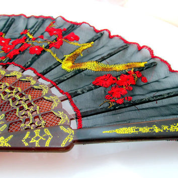 Spanish Style Silk Hand Fan Embroidered Floral Black Red Gold Boudoir Decor Vintage Collectible Gift Item 2109