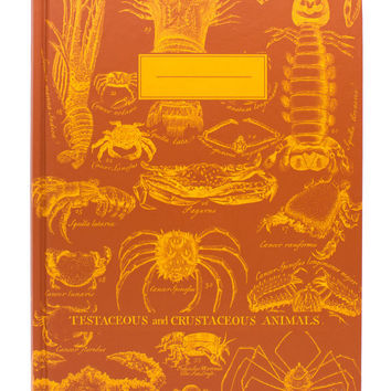 Vintage Crustaceans Notebook (100% Recycled) Biology Oceanology Student Science Ocean Marine Life Crab Lobster Handmade Screen Print Journal