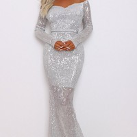 Time To Sparkle Silver Sequin Long Sleeve Off The Shoulder V Neck Mermaid Maxi Dress