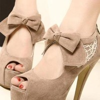 Elegant Bowknot Lace High-heeled Peep-toe Shoes from perfectmall