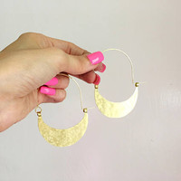 Rustic metal super hoop earrings, hammered half moon hoop earrings