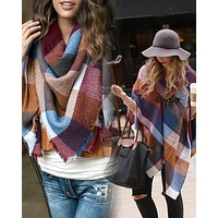 Grace & Lace Blanket Scarf/Toggle Poncho (Color Block)