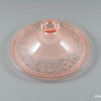 Cambridge Glass #300 Pink Candy Dish Lid w/ #725 Etch