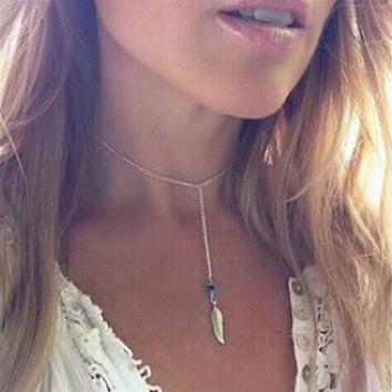 Doinshop Women Chain Pendant Statement Bohemian Turquoise Feather Tassel Necklace