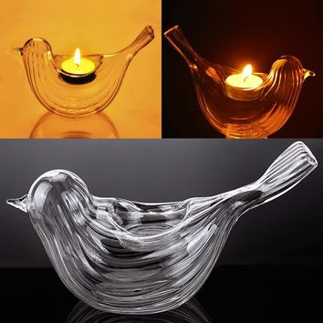 New Portable Classic Crystal Bird Shape Glass Candle Holder Banquet Wedding Bar Party Home Decor Dinner Candlestick #95945
