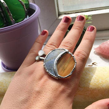 Sun and Moon Statement ring