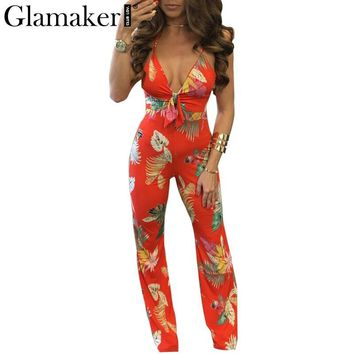 Glamaker Sexy deep v-neck high waist jumpsuit romper Skinny backless floral night club playsuit Women summer rompers overalls