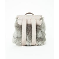 Missguided - Faux Fur Buckle Detail Backpack Grey