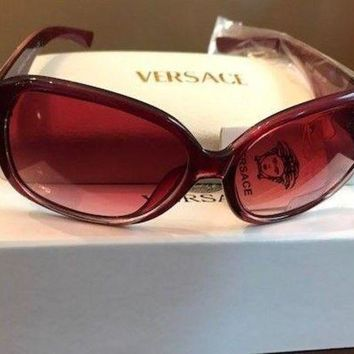 MDIGRQ5 New? ?Women's Sunglasses Red Frame Pink Lens Fast Ship-Versace